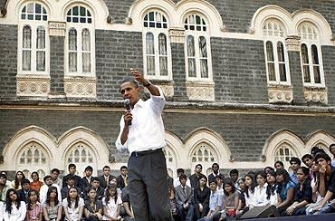 Obama in St. Xaviers Mumbai