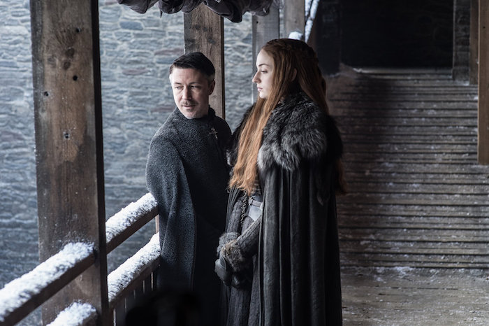 Sansa Stark and Petyr Baelish in deep conversation at Winterfell- a still from Game of Thrones season 7