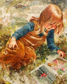 Discussing about the nursery rhyme authors - Girl reading a nursery rhyme book, a picture of innocence
