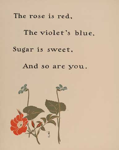 Discussing about the nursery rhyme authors in this article - A page from mother goose's rhyme book, showing the rhyme roses are red.