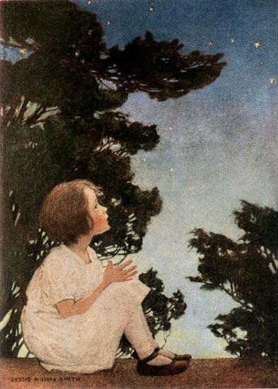 Discussing about the nursery rhyme authors. - An oil painting on canvas by Jessie Willcox, on the theme twinkle twinkle little star, showing a girl staring at the stars.