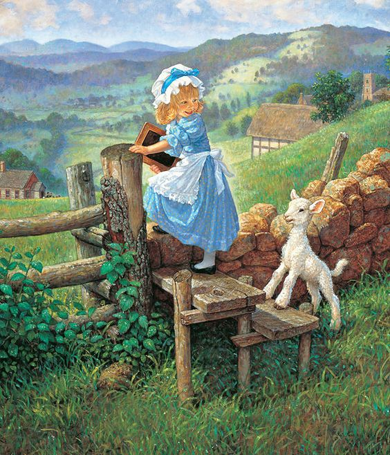 Discussing about the nursery rhyme authors - Mary had a little lamb and the lamb is following her to school, as she is on her way.